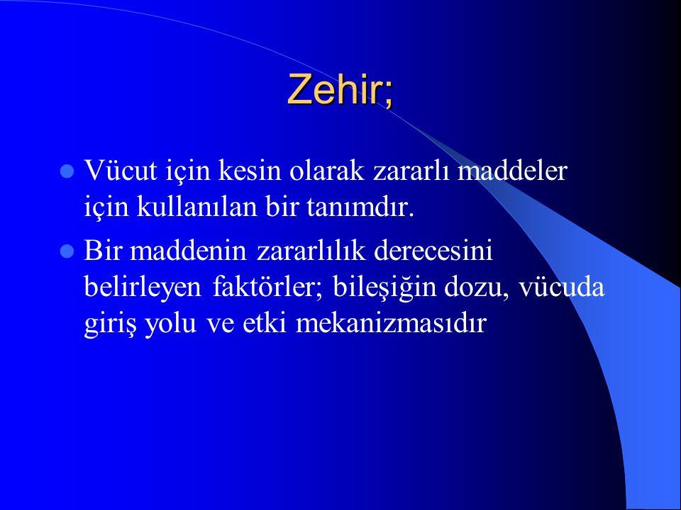 Zehir; Vücut için kesin olarak zararlı maddeler için kullanılan bir tanımdır.
