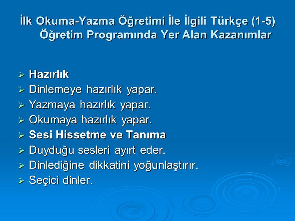İlk Okuma-Yazma Öğretimi İle İlgili Türkçe (1-5) Öğretim Programında Yer Alan Kazanımlar