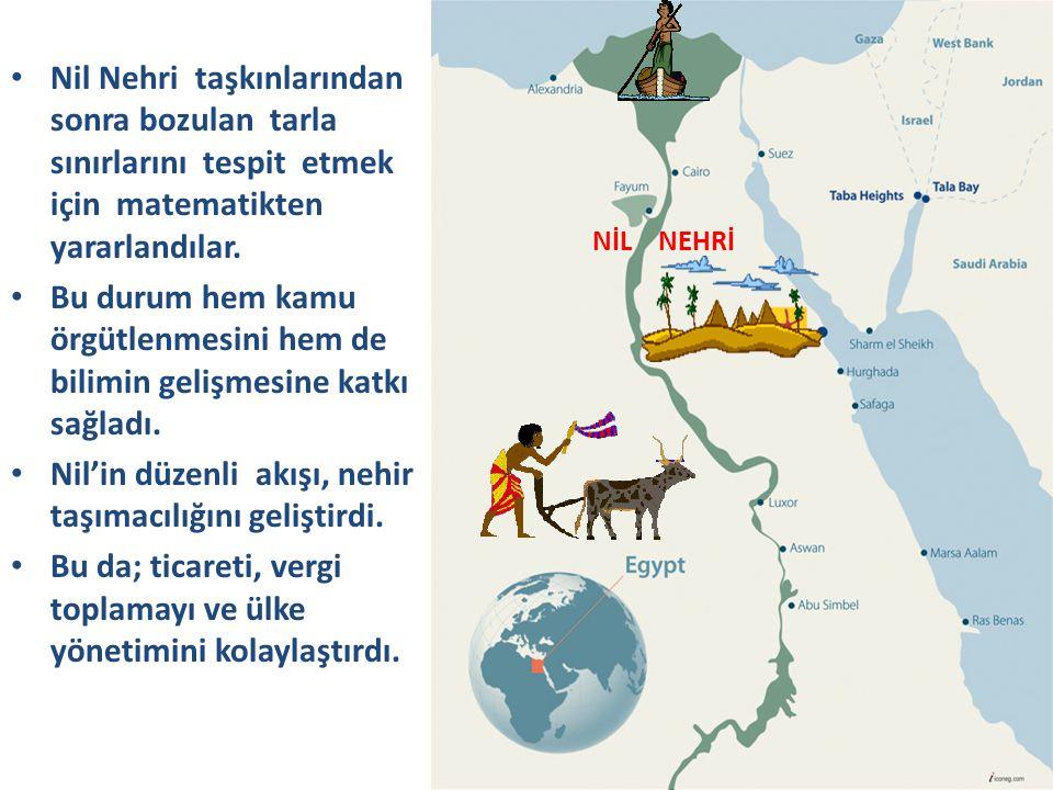 Nil'in düzenli akışı, nehir taşımacılığını geliştirdi.