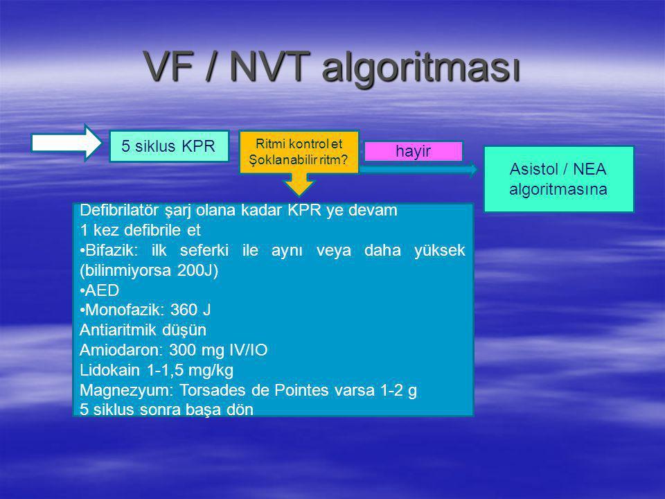 VF / NVT algoritması 5 siklus KPR hayir Asistol / NEA algoritmasına