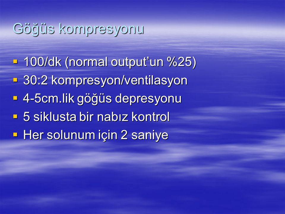 Göğüs kompresyonu 100/dk (normal output'un %25)