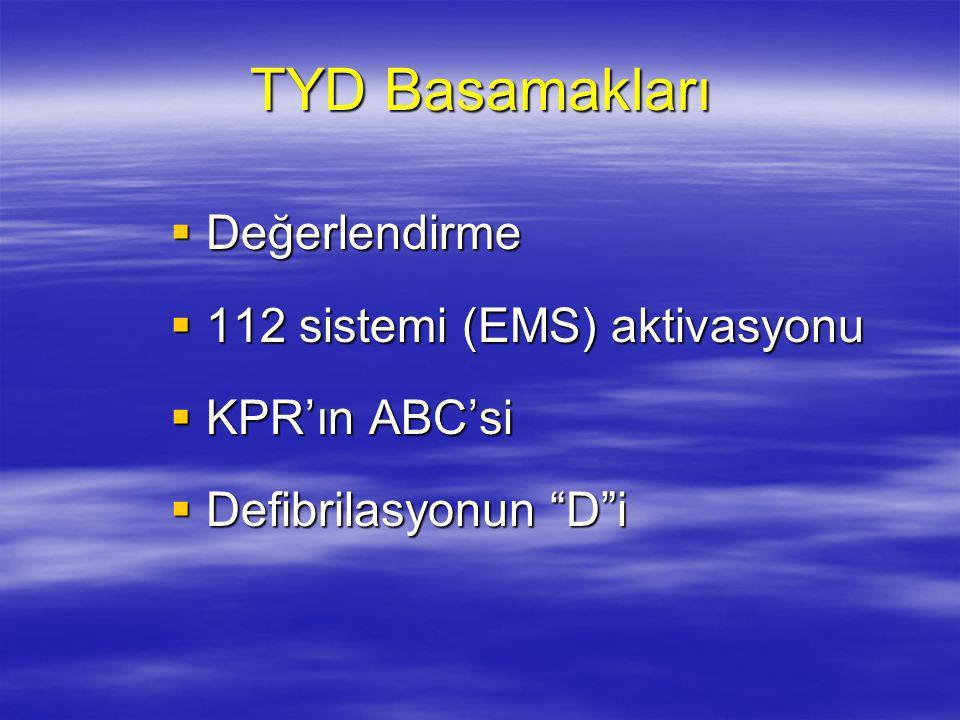 TYD Basamakları Değerlendirme 112 sistemi (EMS) aktivasyonu