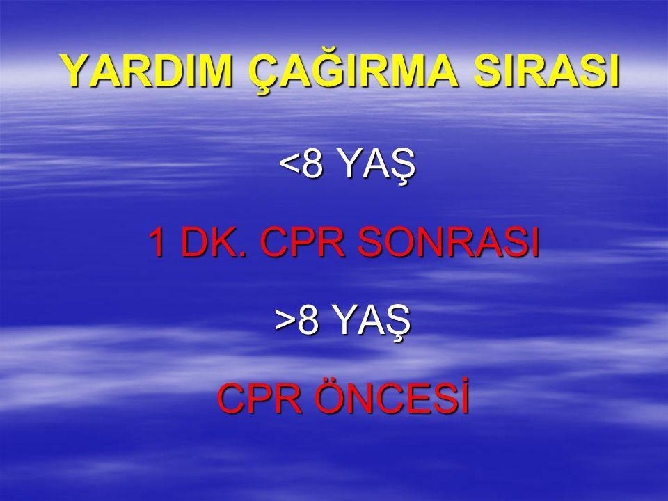YARDIM ÇAĞIRMA SIRASI <8 YAŞ 1 DK. CPR SONRASI >8 YAŞ CPR ÖNCESİ