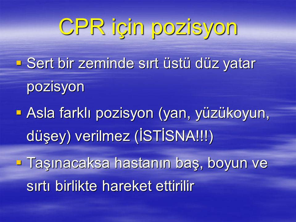 CPR için pozisyon Sert bir zeminde sırt üstü düz yatar pozisyon