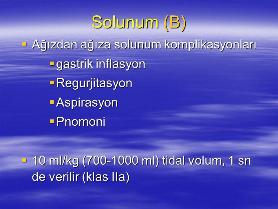 Solunum (B) Ağızdan ağıza solunum komplikasyonları gastrik inflasyon