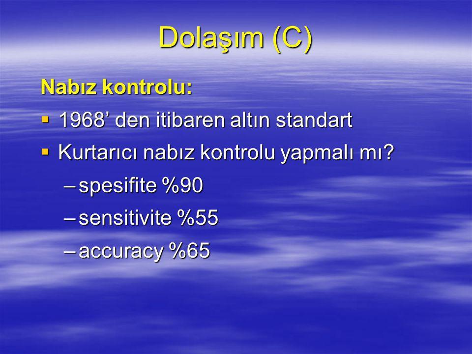Dolaşım (C) Nabız kontrolu: 1968' den itibaren altın standart