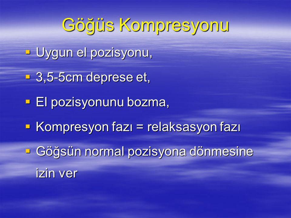 Göğüs Kompresyonu Uygun el pozisyonu, 3,5-5cm deprese et,