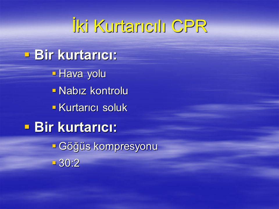 İki Kurtarıcılı CPR Bir kurtarıcı: Hava yolu Nabız kontrolu