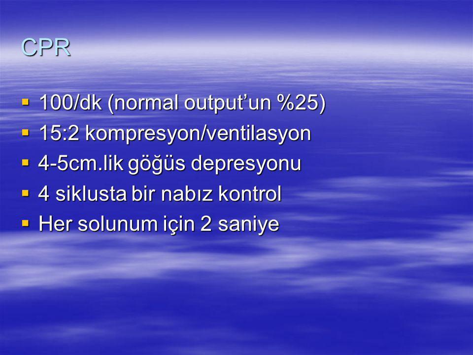 CPR 100/dk (normal output'un %25) 15:2 kompresyon/ventilasyon