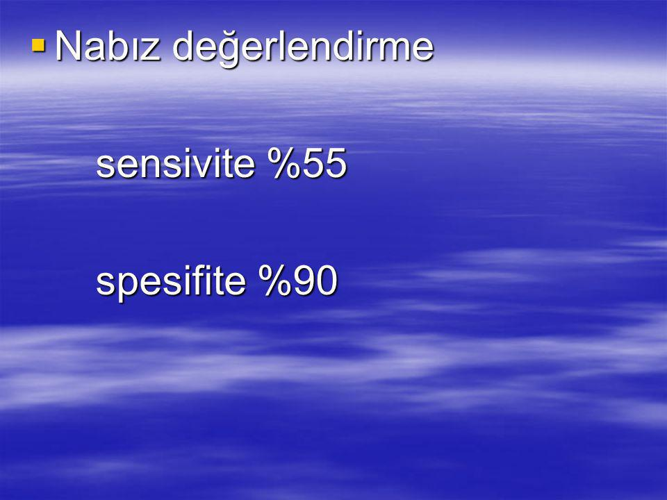 Nabız değerlendirme sensivite %55 spesifite %90