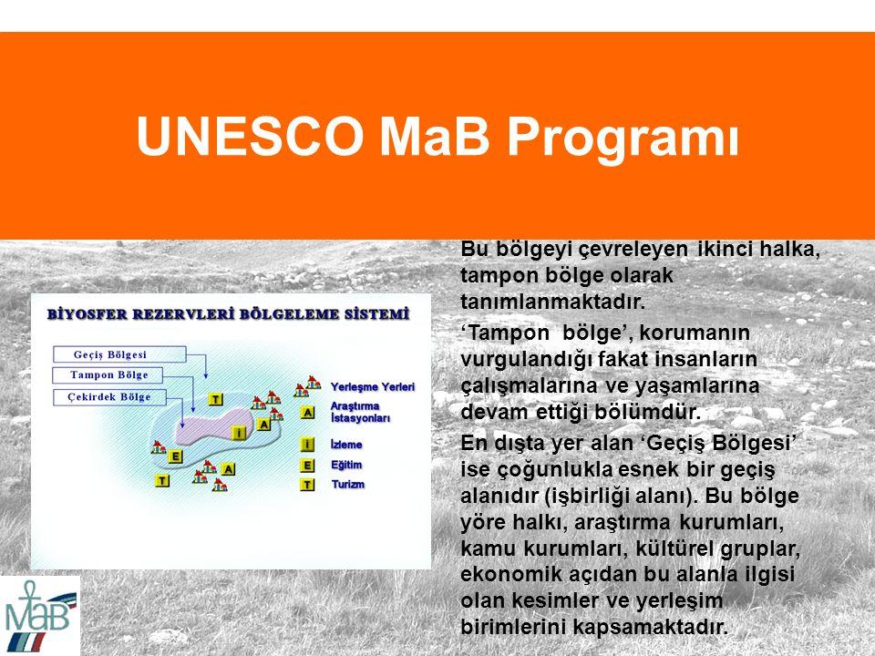 UNESCO MaB Programı Bu bölgeyi çevreleyen ikinci halka, tampon bölge olarak tanımlanmaktadır.