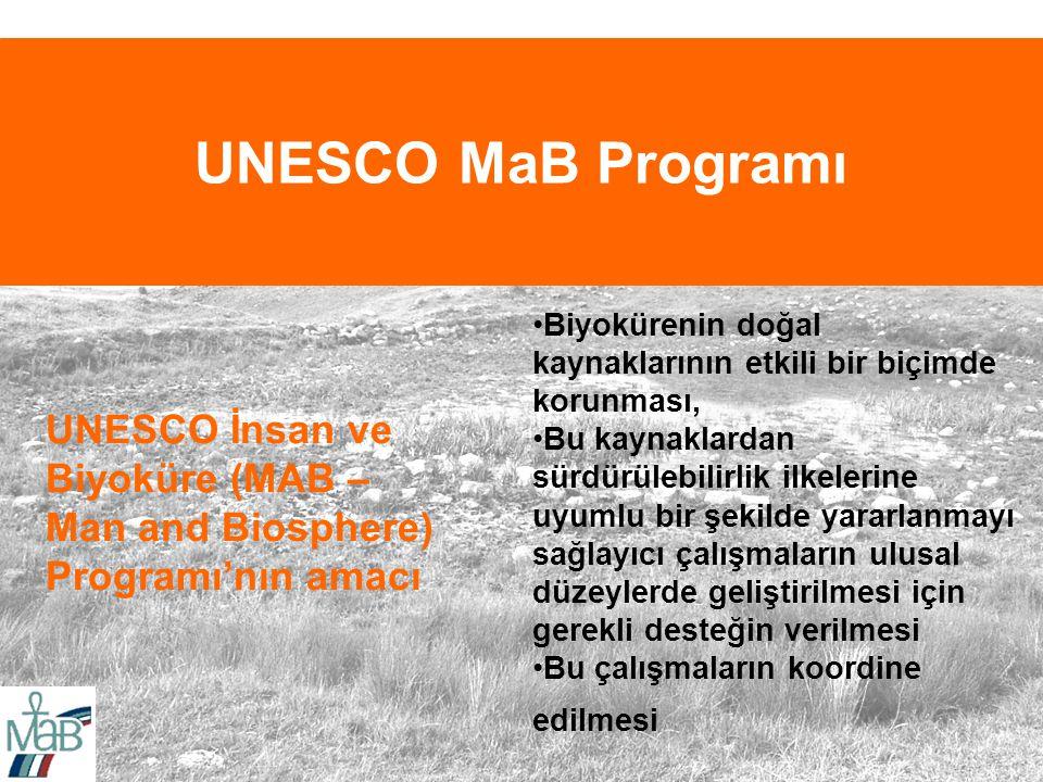 UNESCO MaB Programı Biyokürenin doğal kaynaklarının etkili bir biçimde korunması,