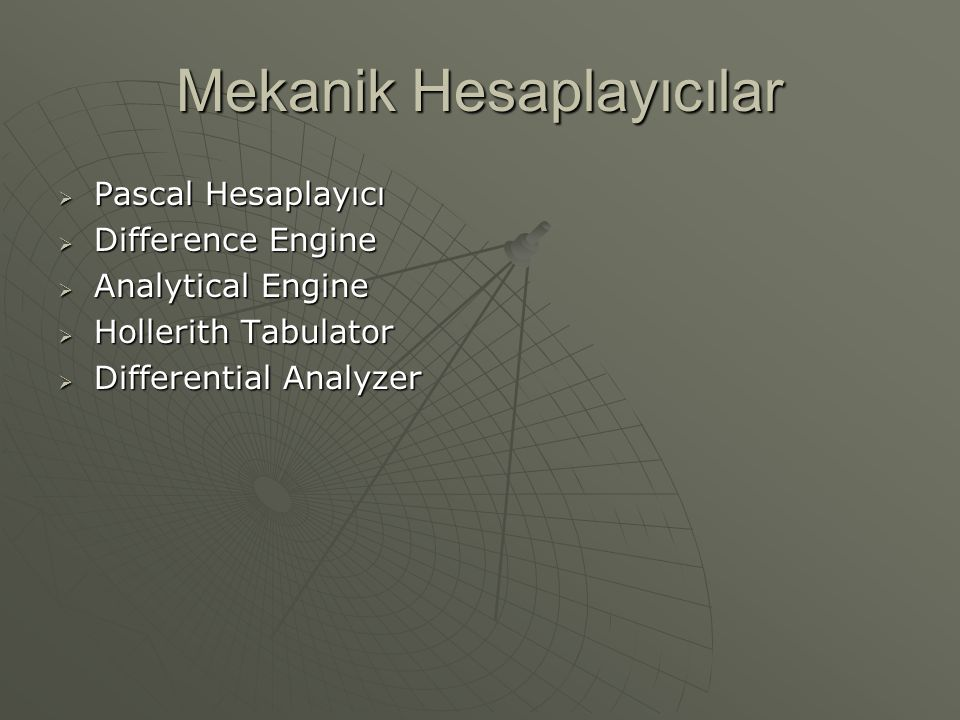 Mekanik Hesaplayıcılar