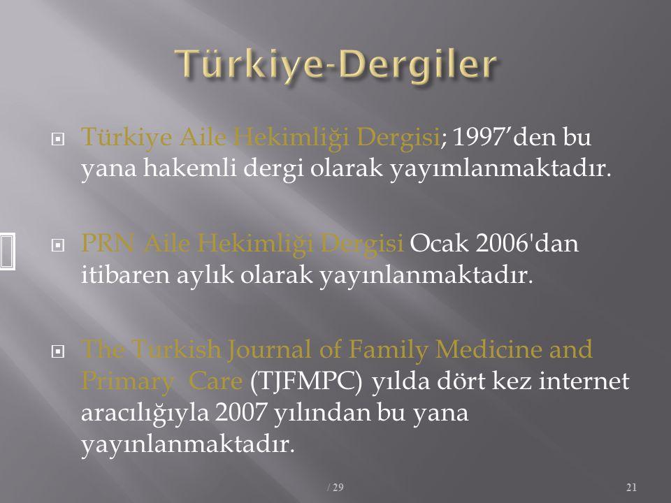 Türkiye-Dergiler Türkiye Aile Hekimliği Dergisi; 1997'den bu yana hakemli dergi olarak yayımlanmaktadır.