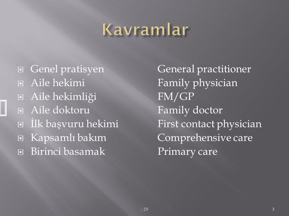 Kavramlar Genel pratisyen General practitioner