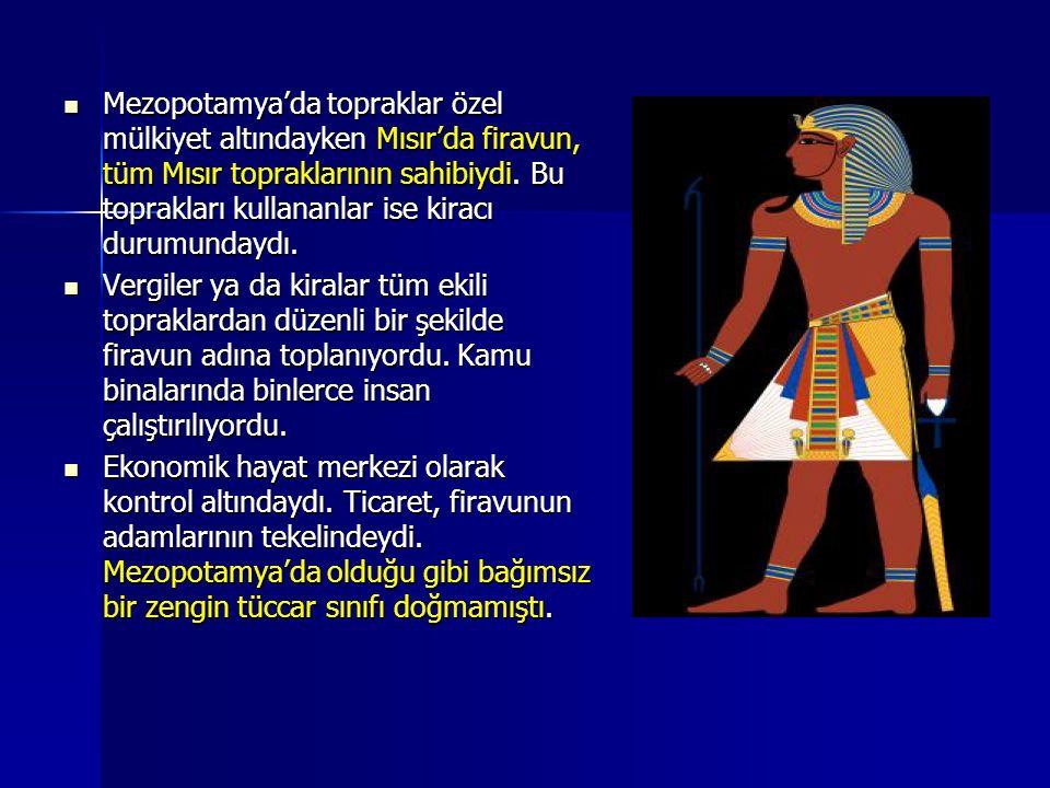Mezopotamya'da topraklar özel mülkiyet altındayken Mısır'da firavun, tüm Mısır topraklarının sahibiydi. Bu toprakları kullananlar ise kiracı durumundaydı.