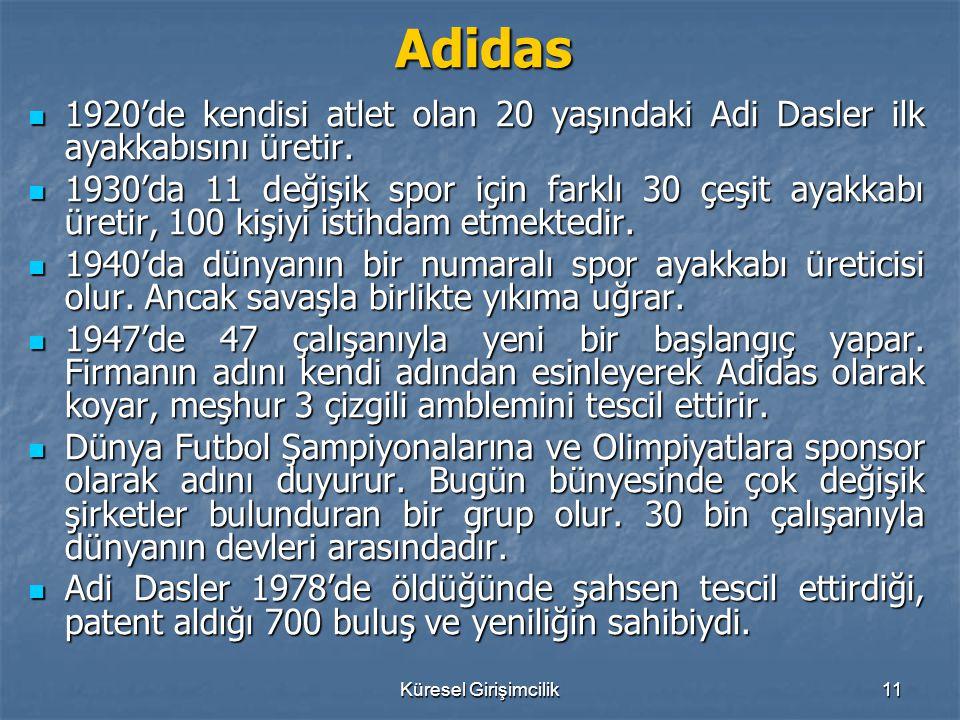 Adidas 1920'de kendisi atlet olan 20 yaşındaki Adi Dasler ilk ayakkabısını üretir.
