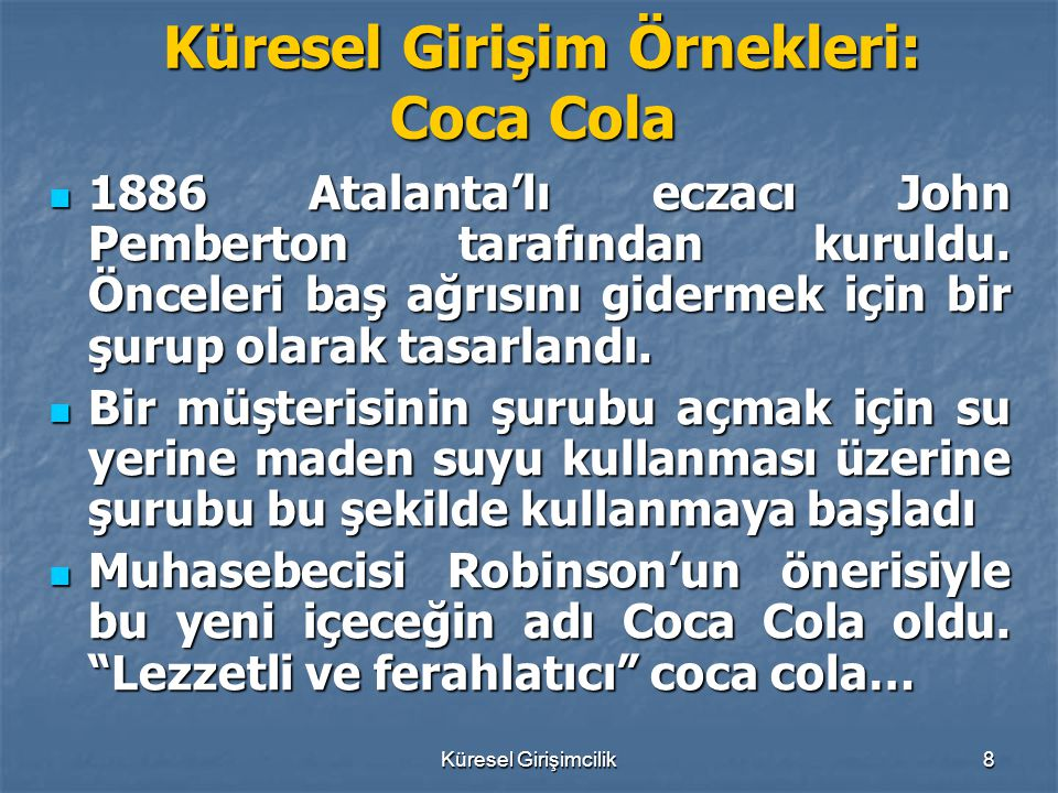 Küresel Girişim Örnekleri: Coca Cola