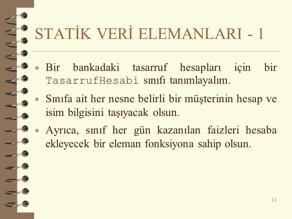 STATİK VERİ ELEMANLARI - 1