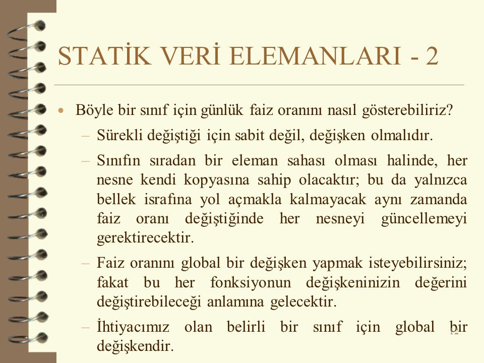 STATİK VERİ ELEMANLARI - 2