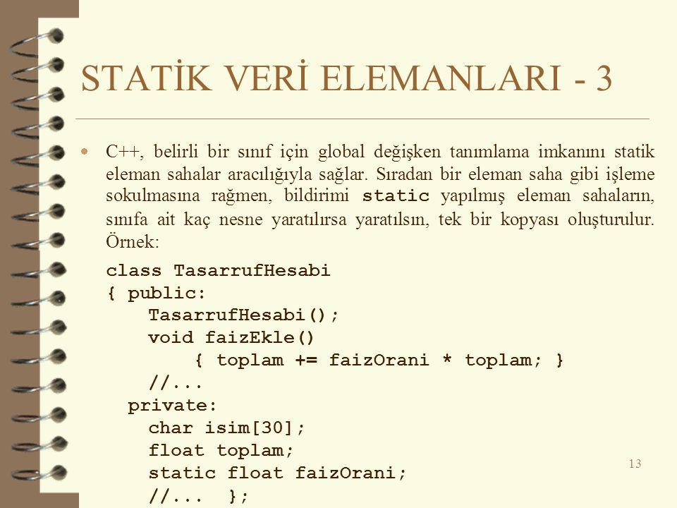 STATİK VERİ ELEMANLARI - 3