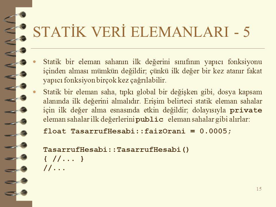 STATİK VERİ ELEMANLARI - 5
