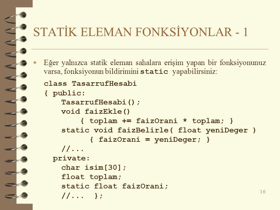 STATİK ELEMAN FONKSİYONLAR - 1