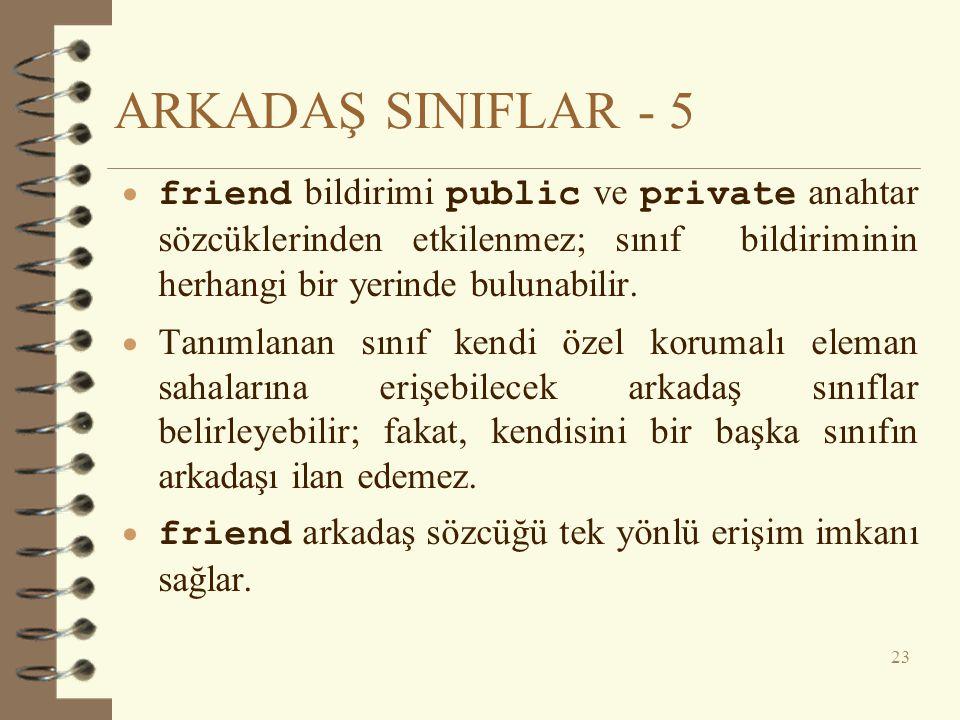 ARKADAŞ SINIFLAR - 5 friend bildirimi public ve private anahtar sözcüklerinden etkilenmez; sınıf bildiriminin herhangi bir yerinde bulunabilir.