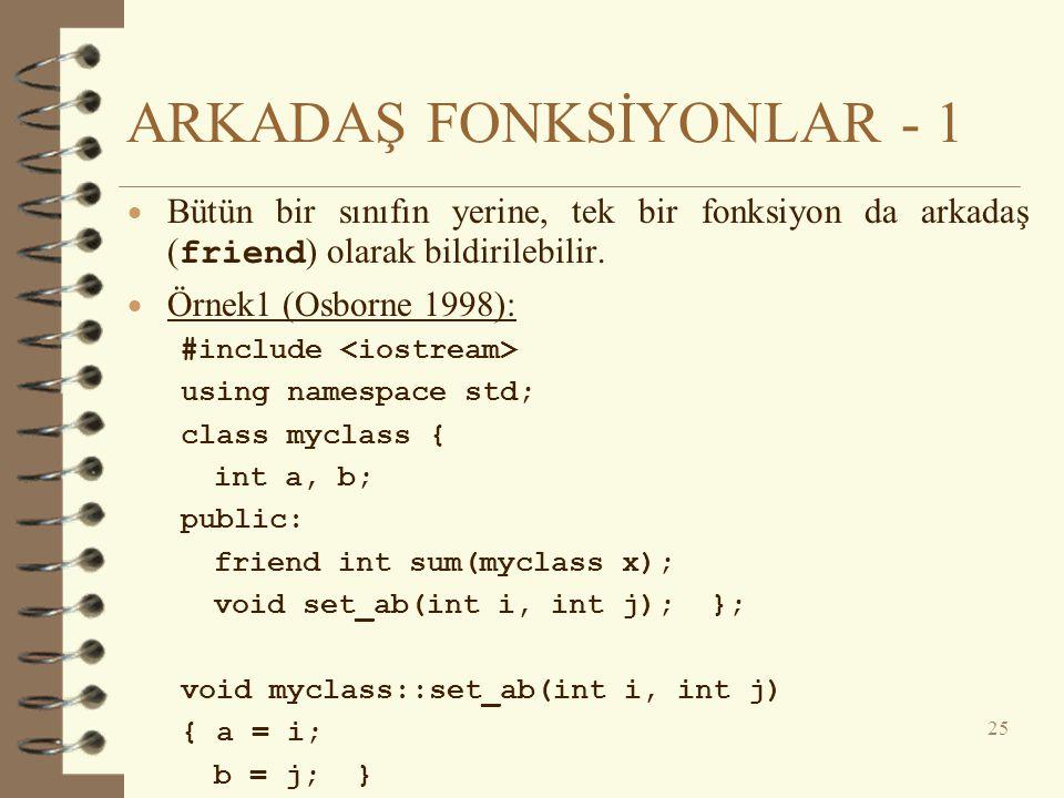 ARKADAŞ FONKSİYONLAR - 1