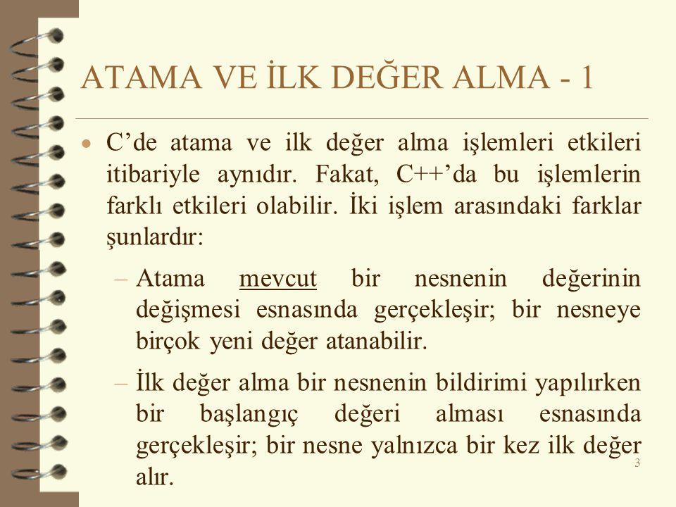 ATAMA VE İLK DEĞER ALMA - 1