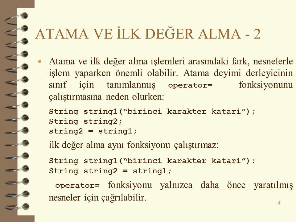 ATAMA VE İLK DEĞER ALMA - 2