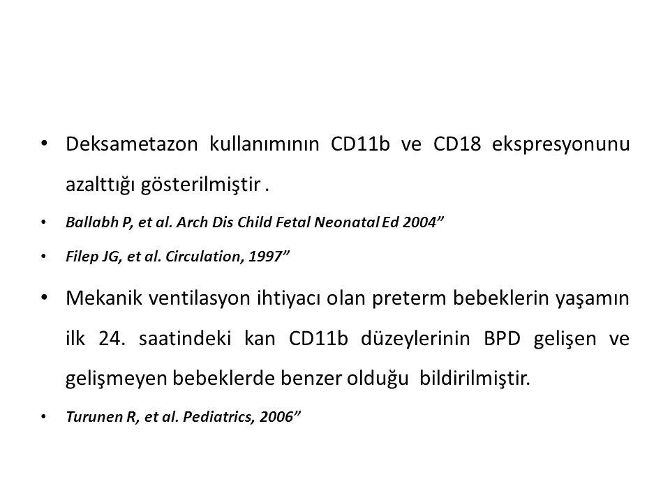 Deksametazon kullanımının CD11b ve CD18 ekspresyonunu azalttığı gösterilmiştir .