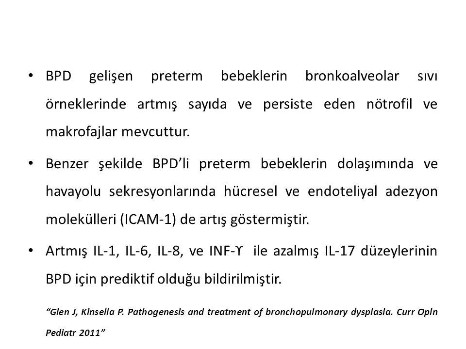 BPD gelişen preterm bebeklerin bronkoalveolar sıvı örneklerinde artmış sayıda ve persiste eden nötrofil ve makrofajlar mevcuttur.