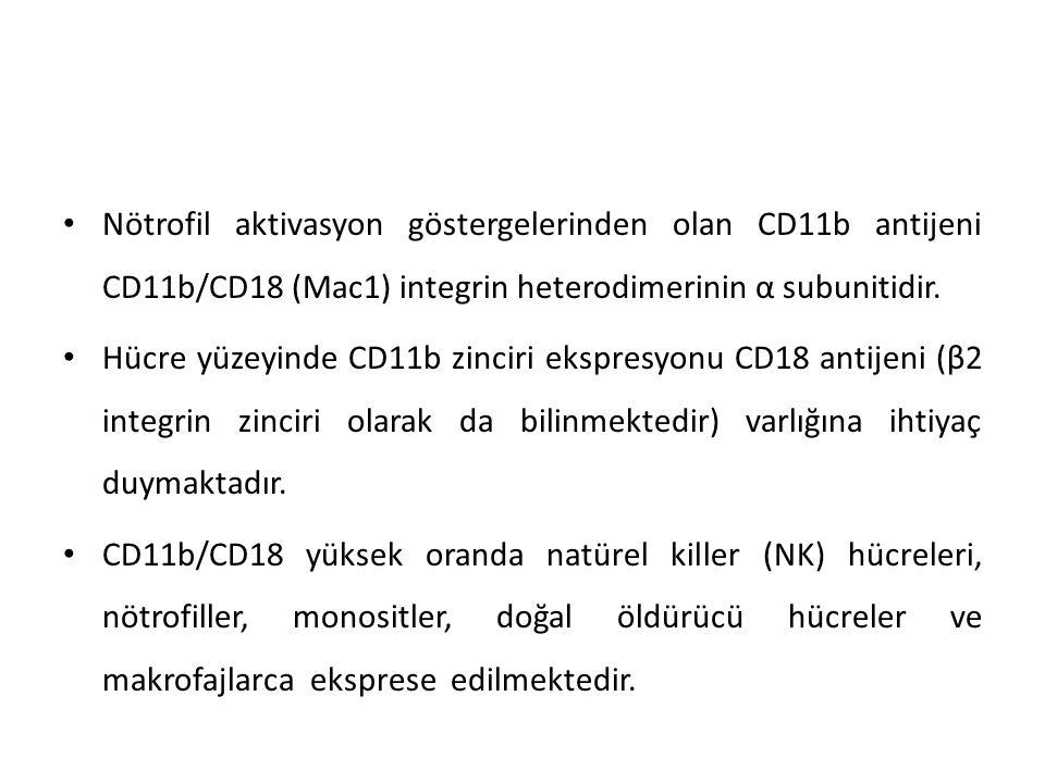 Nötrofil aktivasyon göstergelerinden olan CD11b antijeni CD11b/CD18 (Mac1) integrin heterodimerinin α subunitidir.