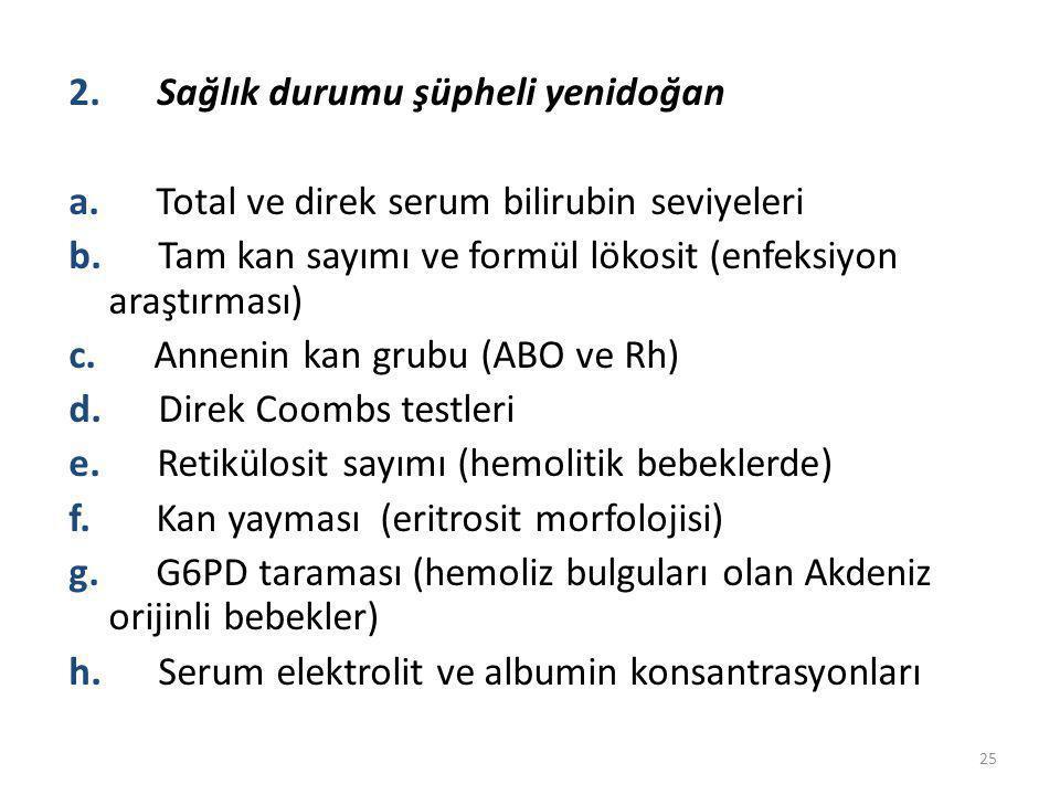 2. Sağlık durumu şüpheli yenidoğan