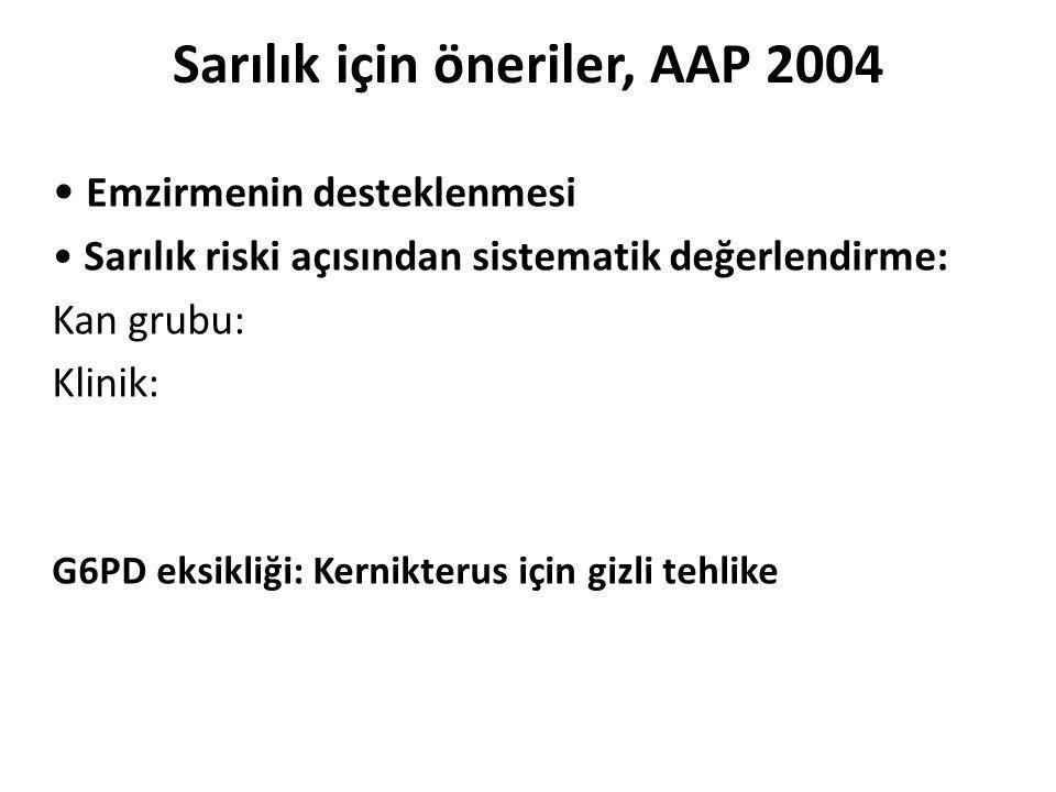 Sarılık için öneriler, AAP 2004