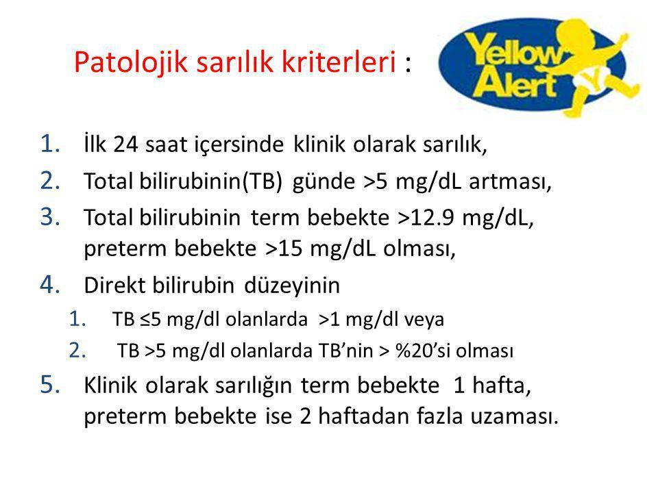 Patolojik sarılık kriterleri :