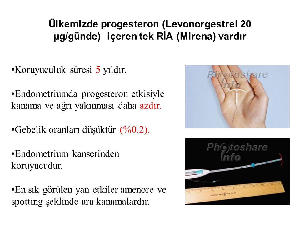 Ülkemizde progesteron (Levonorgestrel 20 µg/günde) içeren tek RİA (Mirena) vardır