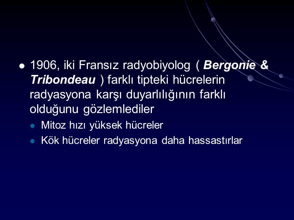 1906, iki Fransız radyobiyolog ( Bergonie & Tribondeau ) farklı tipteki hücrelerin radyasyona karşı duyarlılığının farklı olduğunu gözlemlediler