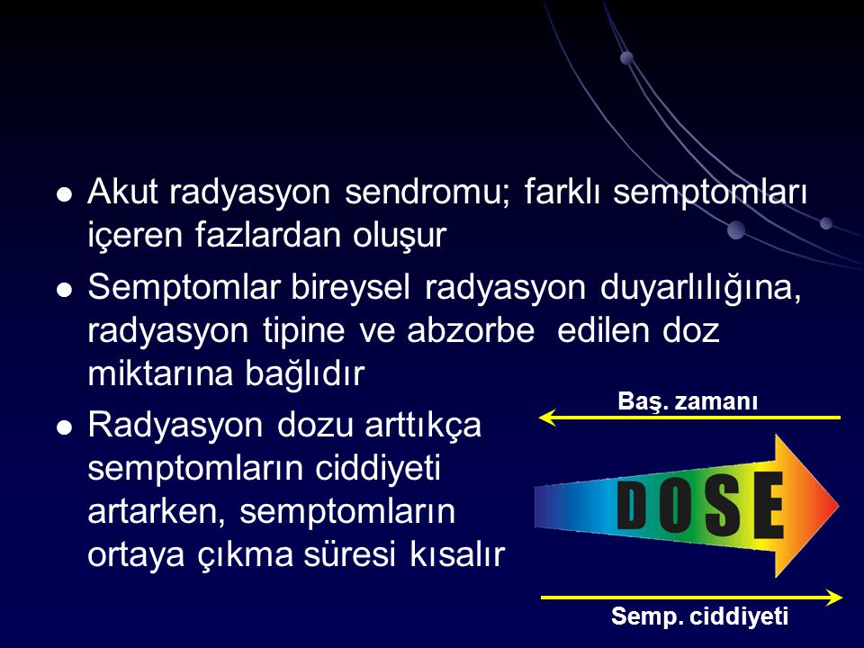 Akut radyasyon sendromu; farklı semptomları içeren fazlardan oluşur
