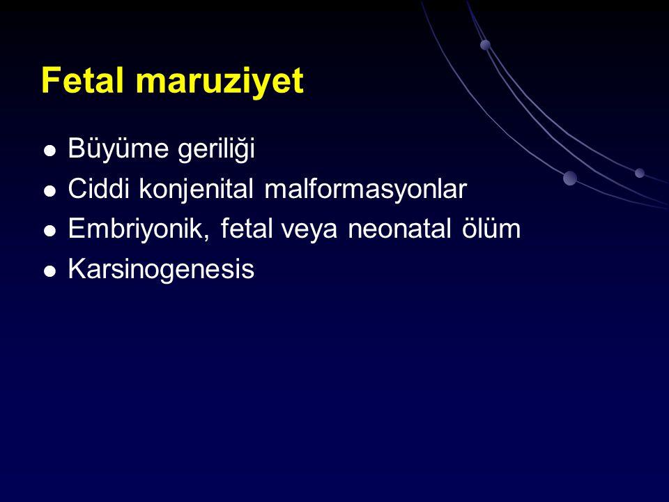 Fetal maruziyet Büyüme geriliği Ciddi konjenital malformasyonlar