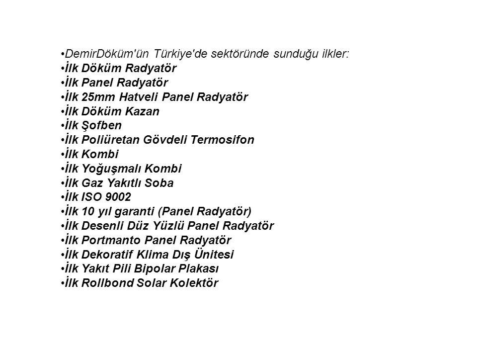 DemirDöküm ün Türkiye de sektöründe sunduğu ilkler: