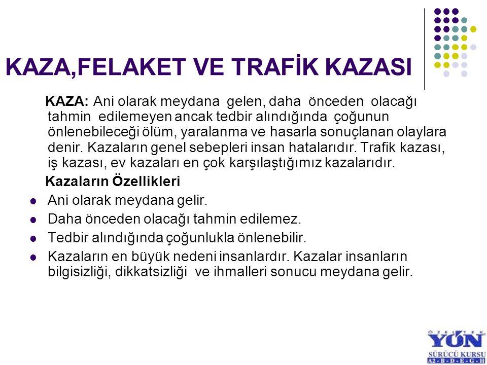 KAZA,FELAKET VE TRAFİK KAZASI