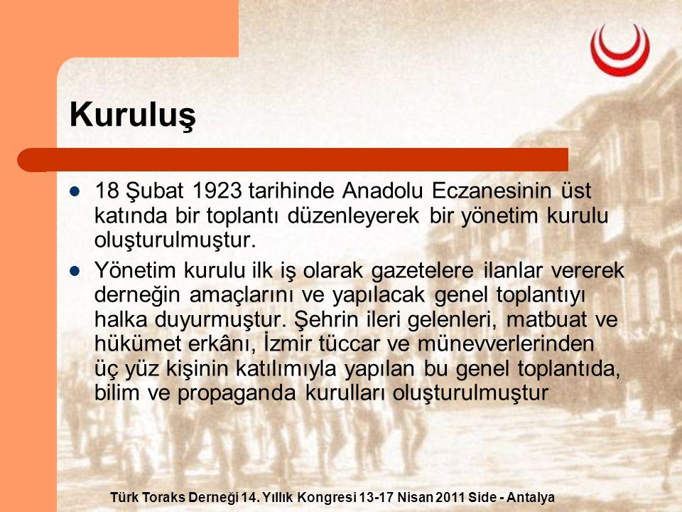 Kuruluş 18 Şubat 1923 tarihinde Anadolu Eczanesinin üst katında bir toplantı düzenleyerek bir yönetim kurulu oluşturulmuştur.