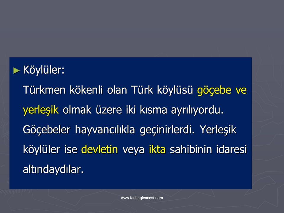 Köylüler: Türkmen kökenli olan Türk köylüsü göçebe ve yerleşik olmak üzere iki kısma ayrılıyordu. Göçebeler hayvancılıkla geçinirlerdi. Yerleşik köylüler ise devletin veya ikta sahibinin idaresi altındaydılar.