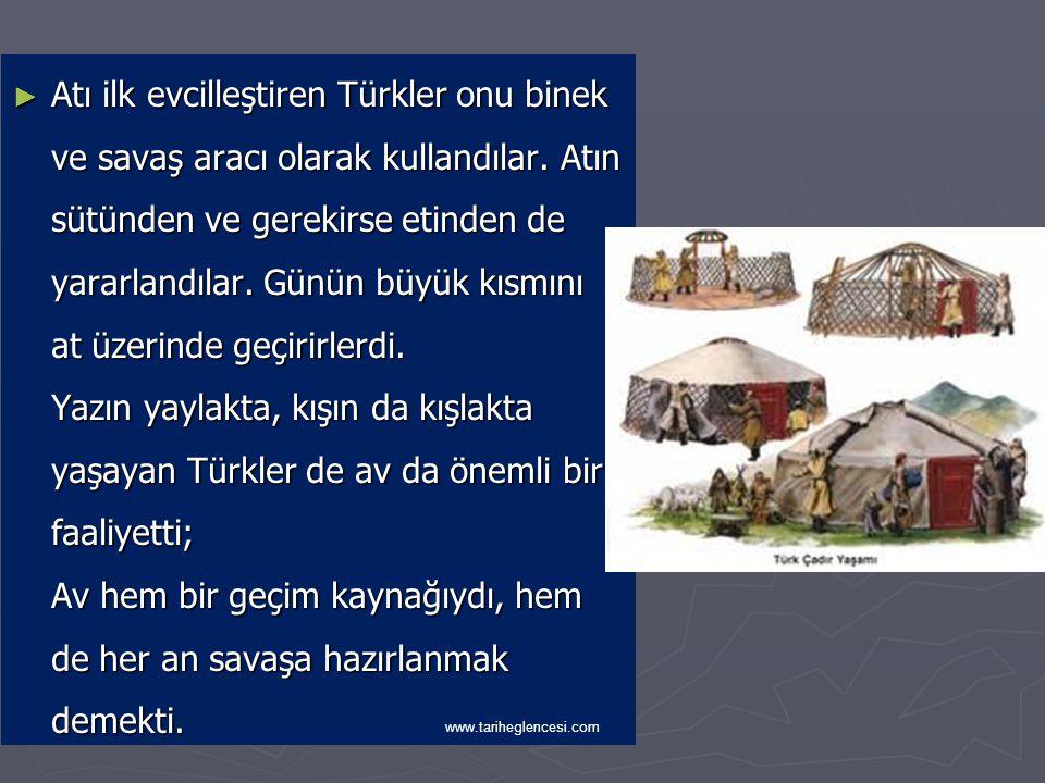 Atı ilk evcilleştiren Türkler onu binek ve savaş aracı olarak kullandılar. Atın sütünden ve gerekirse etinden de yararlandılar. Günün büyük kısmını at üzerinde geçirirlerdi. Yazın yaylakta, kışın da kışlakta yaşayan Türkler de av da önemli bir faaliyetti; Av hem bir geçim kaynağıydı, hem de her an savaşa hazırlanmak demekti.