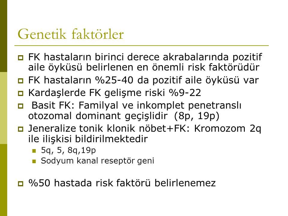 Genetik faktörler FK hastaların birinci derece akrabalarında pozitif aile öyküsü belirlenen en önemli risk faktörüdür.