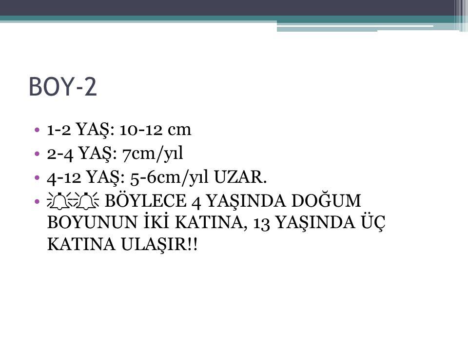 BOY-2 1-2 YAŞ: 10-12 cm 2-4 YAŞ: 7cm/yıl 4-12 YAŞ: 5-6cm/yıl UZAR.
