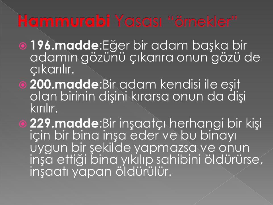 Hammurabi Yasası örnekler