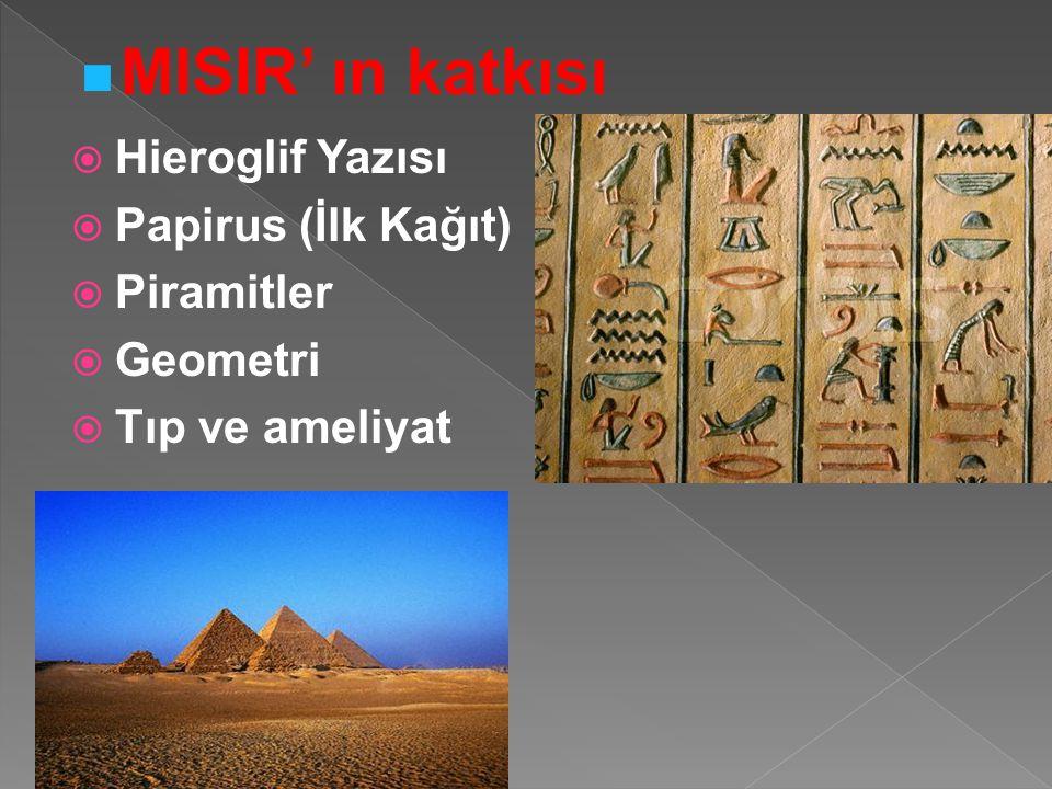 MISIR' ın katkısı Hieroglif Yazısı Papirus (İlk Kağıt) Piramitler